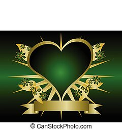 Gold and Green Hearts Background