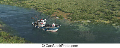 Fishing trawler on a river - Computer generated 3D...