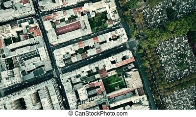 Aerial top down view of Montparnasse district and famous...