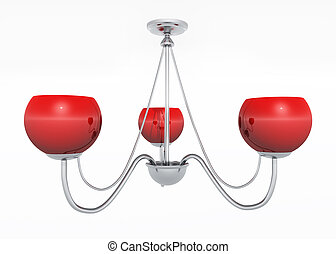 Red ceiling lamp - Computer generated 3D illustration with a...