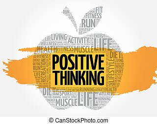 Positive thinking apple word cloud, health concept