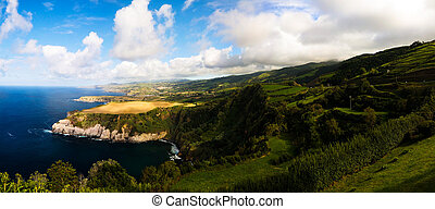 Panorama view to coastline of Sao Miguel island from Santa...