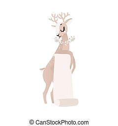 vector flat christmas reindeer with paper scroll - vector...