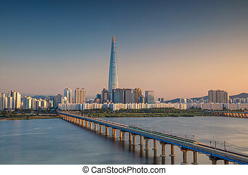 Seoul. - Cityscape image of Seoul and Han River during...
