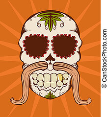 Vector orange sugar skull - Vector illustration of orange...