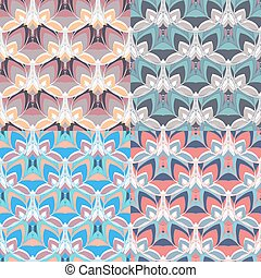 Set of 4 seamless patterns in soft faint colors