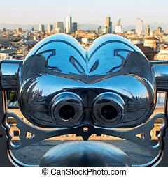 Binoculars coin-operated. View of Milan from the roof of the...