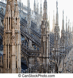 view from the roof of the Cathedral of Duomo in Milan - view...