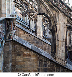 Details of the Cathedral of Duomo in Milan - sculptures on...