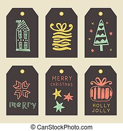 Merry Christmas greeting tags set. Hand lettering in golden,...