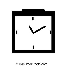 Clock icon in black box style, timer on isolated background....