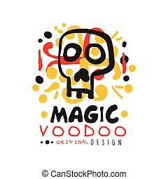 Voodoo African and American magic logo with mystic skull -...