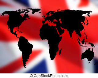 British trade - Trade concept showing World map over British...