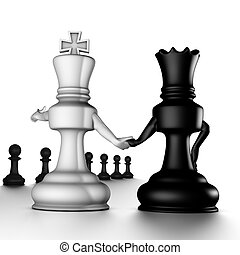 A couple king/queen, looking pawns - The king shows/selects...
