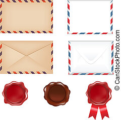 Post Set - 4 Envelopes And 3 Wax Seals, Isolated On White...