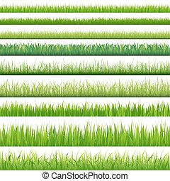 Big Set Grasses - 9 Backgrounds Of Green Grass, Isolated On...
