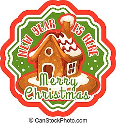 Christmas gingerbread cookie house label design - Christmas...