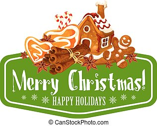 Christmas gingerbread cookie greeting card design -...