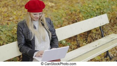 Pretty woman using laptop in autumn park - Pretty young...