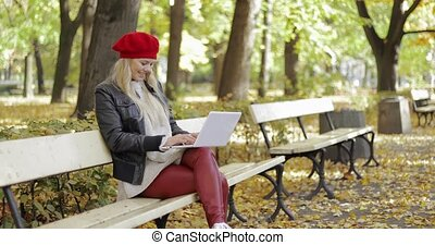 Attractive woman using laptop in park - Attractive young...