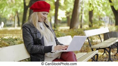 Woman using laptop in autumn park - Pretty young woman in...