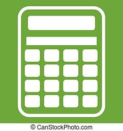 Calculator icon green - Calculator icon white isolated on...