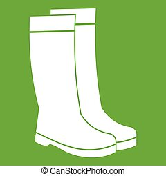 Rubber boots icon green - Rubber boots icon white isolated...