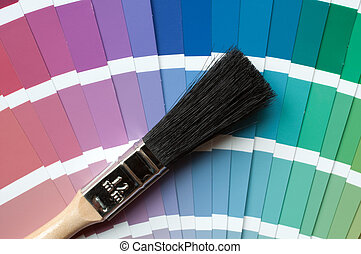 paint brush on colour charts