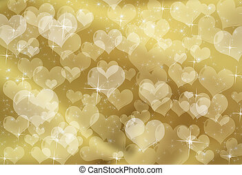 Gold Heart Background - Gold hearts on a gold sparkle...