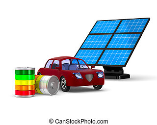 Red electro car on white background. Isolated 3D...