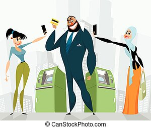Businessman with a bank card - Vector illustration of arab...