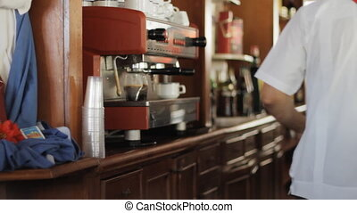 Espresso - Very Busy Bar Staff In A Hotel Making Cappuccino...