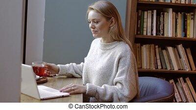 Beautiful woman using laptop - Beautiful young woman in sort...