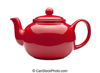 Red Teapot isolated on white with a clipping path