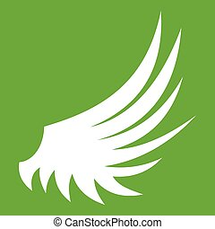 Wing icon green - Wing icon white isolated on green...