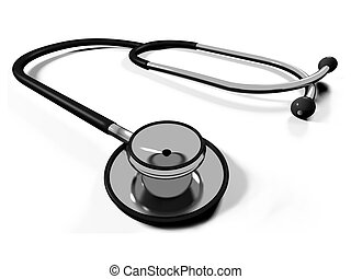3d doctors stethoscope on a white background
