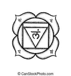 hand drawn chakra Muladhara illustration - Vector first root...