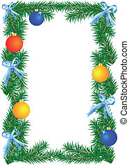Christmas border on the white background. Vector...