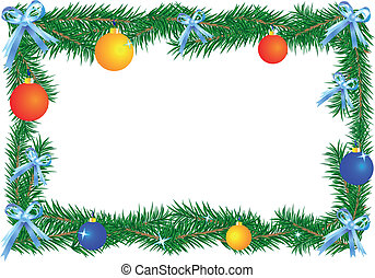Christmas border on the white background (horizontal)....