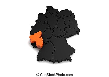 black germany map, with Rheinland-pfalz region, highlighted...