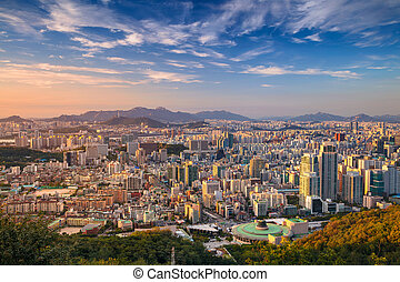 Seoul. - Cityscape image of Seoul downtown during summer...