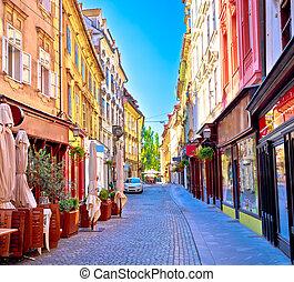 Colorful old town street in Ljubljana, capital of Slovenia