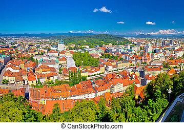 Colorful Ljubljana aerial panoramic view, capital of...