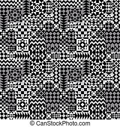 Geometric Patchwork Pattern_Grey - Seamless pattern of...