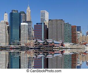 Manhattan Skyline - Dramatic Skyline of Manhattan Island in...