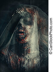 awful zombie bride - Portrait of a bloody dead bride woman....