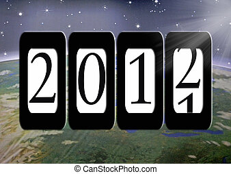 New Year Dawning - Year 2012 on an odometer with space...
