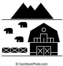 farm in tuscany icon, vector illustration, sign on isolated...