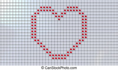 Screen made of big dots dispaying heart symbol and LOVE...