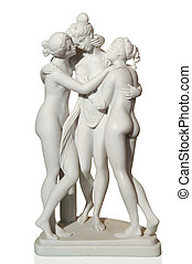 antique statue made of marble with three women